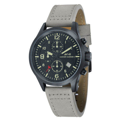 AVI-8 Men's AV-4001-08 Hawker Harrier II Black Quartz Watch with Light Grey Genuine Leather Strap
