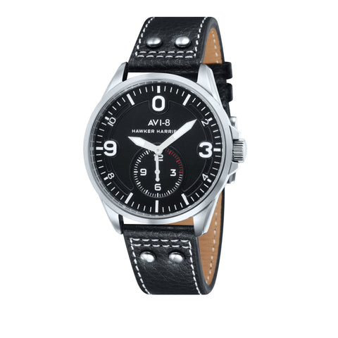 AVI-8 Men's AV-4002-01 Hawker Harrier II Stainless Steel Quartz Watch with Black Genuine Leather Strap