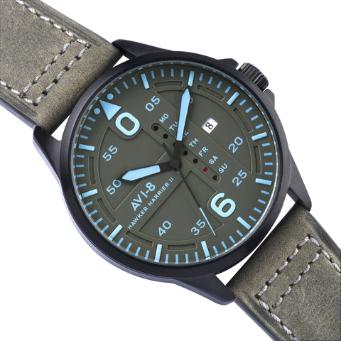 AVI-8 Men's AV-4003-0A Hawker Harrier II Black Quartz Watch with Grey Genuine Leather Strap