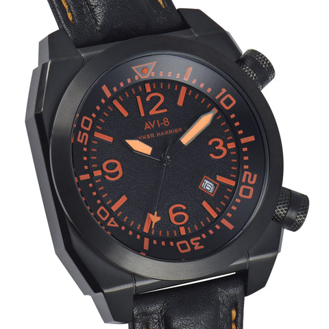 AVI-8 Men's AV-4005-02 Hawker Harrier II Black Quartz Watch with Black Genuine Leather Strap