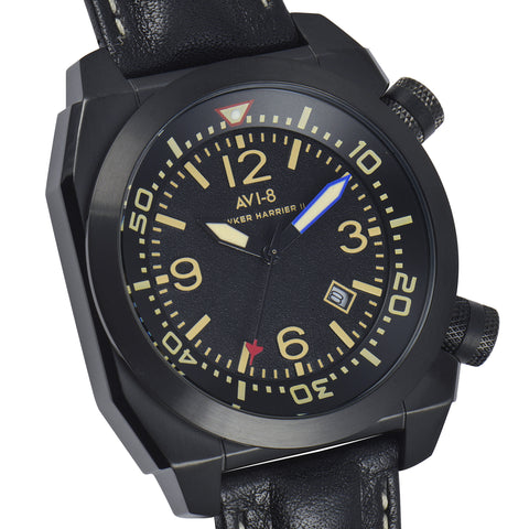 AVI-8 AVI-8 Hawker Harrier II Men's Quartz Watch with Black Genuine Leather Strap AV-4005-03
