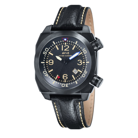 AVI-8 Men's AV-4005-03 Hawker Harrier II Black Quartz Watch with Black Genuine Leather Strap