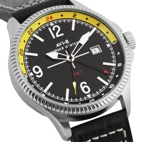 AVI-8 Men's AV-4007-02 Hawker Hunter Stainless Steel Quartz Watch with Black Genuine Leather Strap