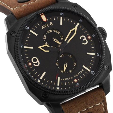 AVI-8 Men's AV-4010-03 Hawker Hunter Black Quartz Watch with Brown Genuine Leather Strap