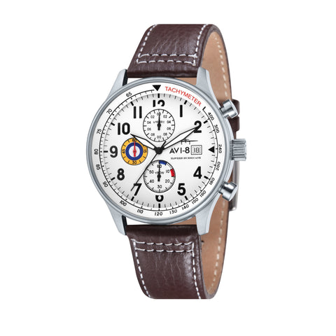 AVI-8 Men's AV-4011-01 Hawker Hurricane Stainless Steel Chronograph Watch with Brown Genuine Leather Strap