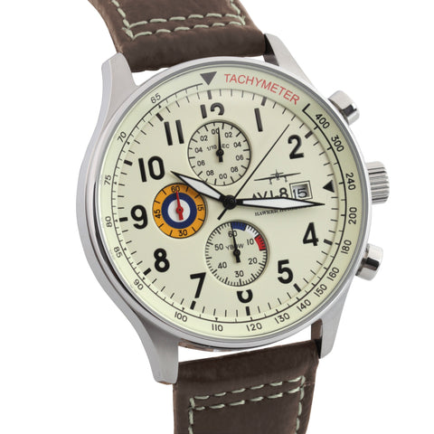 AVI-8 Men's AV-4011-04 Hawker Hurricane Stainless Steel Chronograph Watch with Brown Genuine Leather Strap