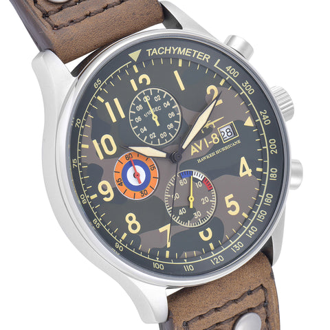 AVI-8 Men's AV-4011-09 Hawker Hurricane Stainless Steel Chronograph Watch with Brown Genuine Leather Strap with Solid Stainless Steel