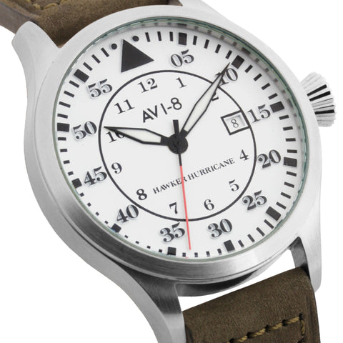 AVI-8 Men's AV-4012-01 Hawker Hurricane Stainless Steel Quartz Watch with Army Green Genuine Leather Strap