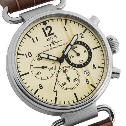 AVI-8 Men's AV-4014-02 Hawker Hurricane Stainless Steel Chronograph Watch with Brown Genuine Leather Strap