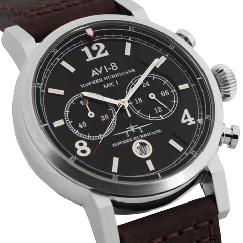 AVI-8 Men's AV-4015-02 Hawker Hurricane Stainless Steel Chronograph Watch with Brown Genuine Leather Strap