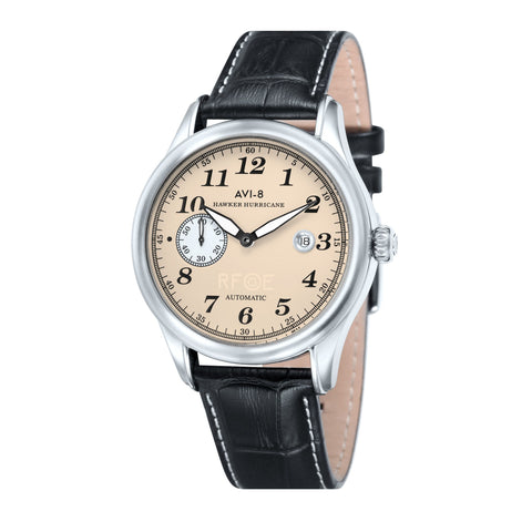 AVI-8 Men's AV-4017-02 Hawker Hurricane Stainless Steel Automatic Watch with Black Genuine Leather Strap