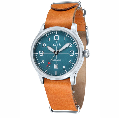 AVI-8 Men's AV-4021-06 Flyboy Stainless Steel Automatic Watch with Orange Genuine Leather NATO Strap