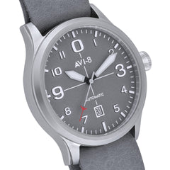 AVI-8 AVI-8 FLYBOY Men's Automatic Watch with Grey Genuine Leather NATO Strap AV-4021-0B