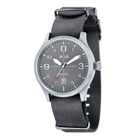 AVI-8 Men's AV-4021-0B Flyboy Stainless Steel Automatic Watch with Grey Genuine Leather NATO Strap