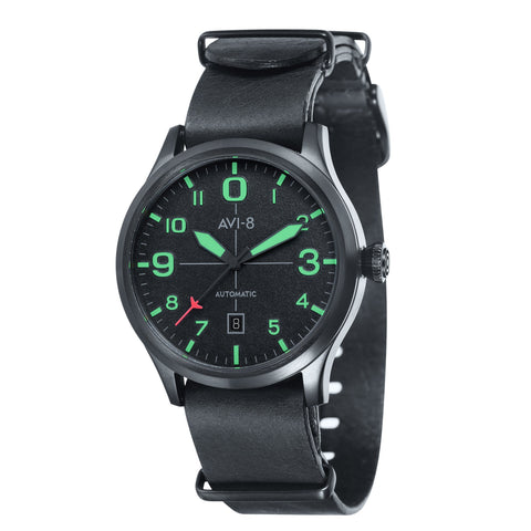 AVI-8 Men's AV-4021-0C Flyboy Black Automatic Watch with Black Genuine Leather NATO Strap with An Extra Green Nylon Strap