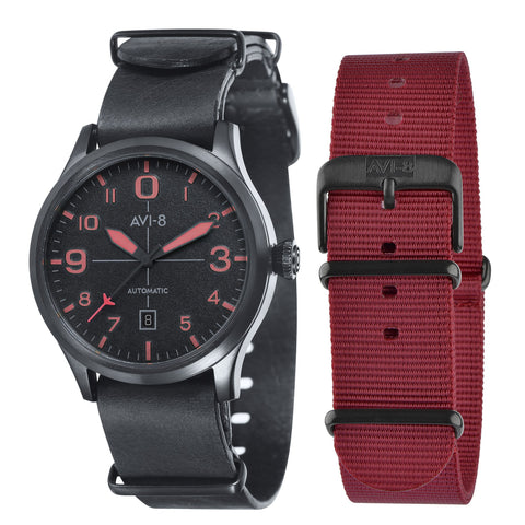 AVI-8 Men's AV-4021-0E Flyboy Black Automatic Watch with Black Genuine Leather NATO Strap with An Extra Red Nylon Strap