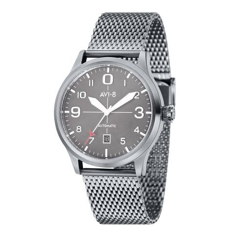 AVI-8 Men's AV-4021-22 Flyboy Stainless Steel Automatic Watch with Stainless Steel Mesh Band