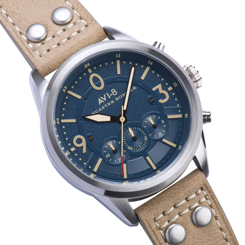 AVI-8 AVI-8 Lancaster Bomber Men's Quartz Chronograph Watch with Beige Genuine Leather Strap AV-4024-05