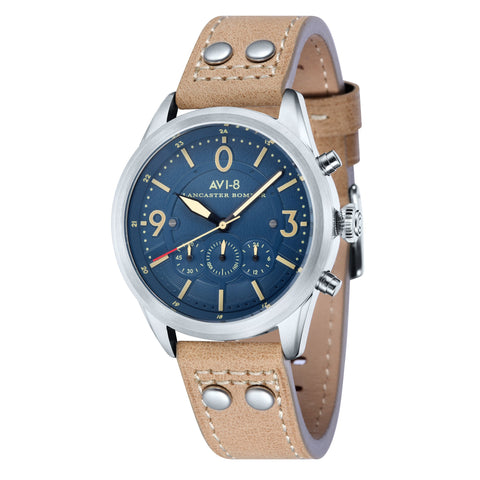 AVI-8 Men's AV-4024-05 Lancaster Bomber Stainless Steel Quartz Watch with Light Camel Genuine Leather Strap