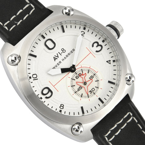 AVI-8 AVI-8 Hawker Harrier II Men's Quartz Watch with Black Genuine Leather Strap AV-4026-01