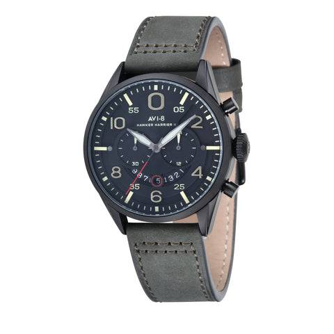 AVI-8 AVI-8 Hawker Harrier II Men's IP Black Quartz Chronograph Watch with Army Green Leather Hand Stitched Strap AV-4031-SETA-01