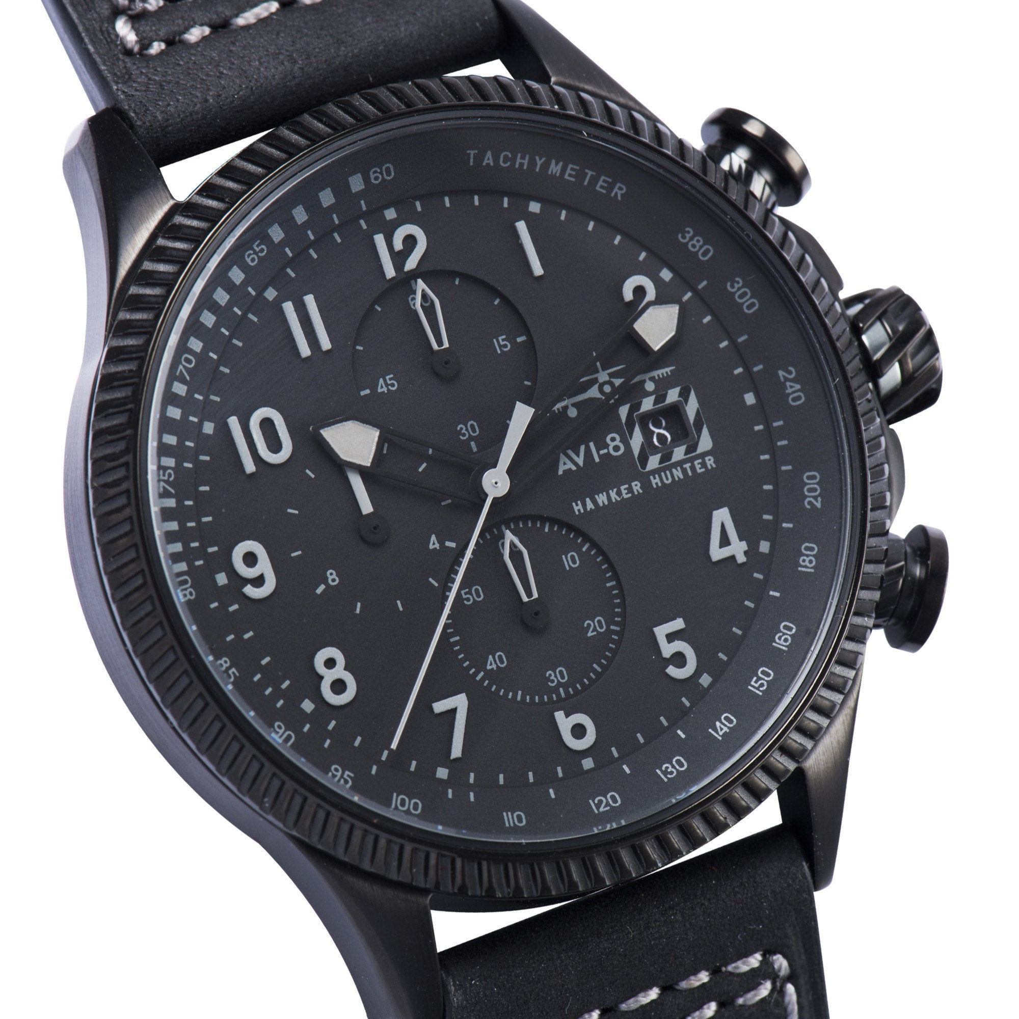 AVI-8 AVI-8 Hawker Hunter Men's IP Black Chronograph Watch with Black Genuine Leather Strap and Extra Black Nylon NATO Strap AV-4036-05