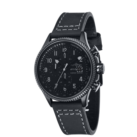 AVI-8 Men's AV-4036-05 Hawker Hunter Black Chronograph Watch with Grey Genuine Leather Strap + Extra NATO Nylon NATO