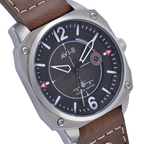 AVI-8 Men's AV-4039-01 Hawker Hunter Stainless Steel Solar Powered Watch with Brown Genuine Leather Strap