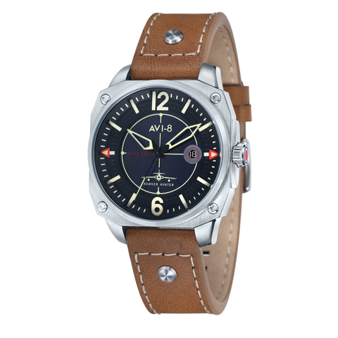 AVI-8 Men's AV-4039-02 Hawker Hunter Stainless Steel Solar Powered Watch with Tan Genuine Leather Strap