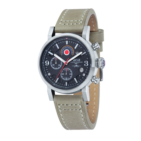 AVI-8 Men's AV-4041-02 Hawker Hurricane Stainless Steel Quartz Watch with Stone Genuine Leather Strap with Nylon Stripe