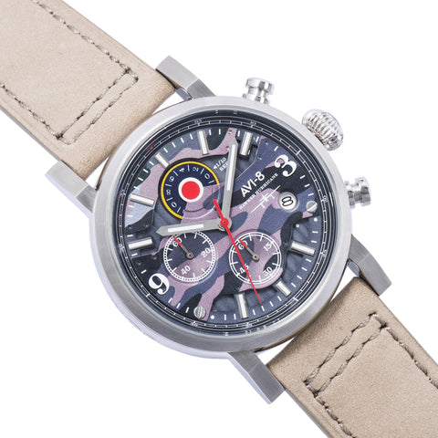 AVI-8 Men's AV-4041-05 Hawker Hurricane Stainless Steel Quartz Watch with Grey Genuine Leather Strap
