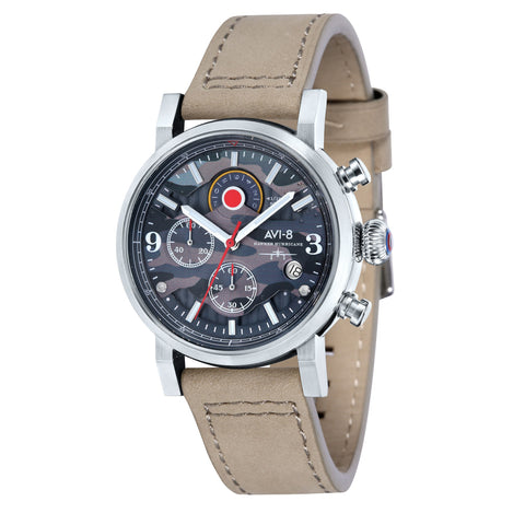 AVI-8 AVI-8 Men's Hawker Hurricane Quartz Chronograph Watch with Beige Genuine Leather Strap AV-4041-05