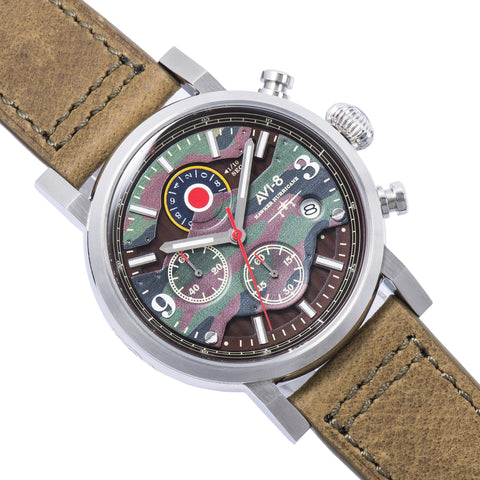 AVI-8 Men's AV-4041-06 Hawker Hurricane Stainless Steel Quartz Watch with Green Genuine Leather Strap