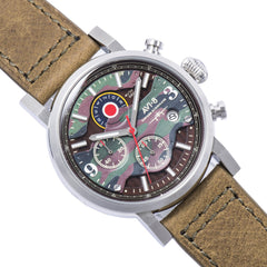 AVI-8 AVI-8 Men's Hawker Hurricane Quartz Chronograph Watch with Green Genuine Leather Strap AV-4041-06
