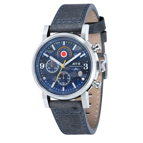 AVI-8 Men's AV-4041-07 Hawker Hurricane Stainless Steel Quartz Watch with Blue Genuine Leather Strap