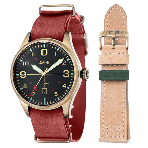 AVI-8 Men's AV-4042-01 Flyboy Gold Automatic Watch with Red Genuine Leather NATO Strap
