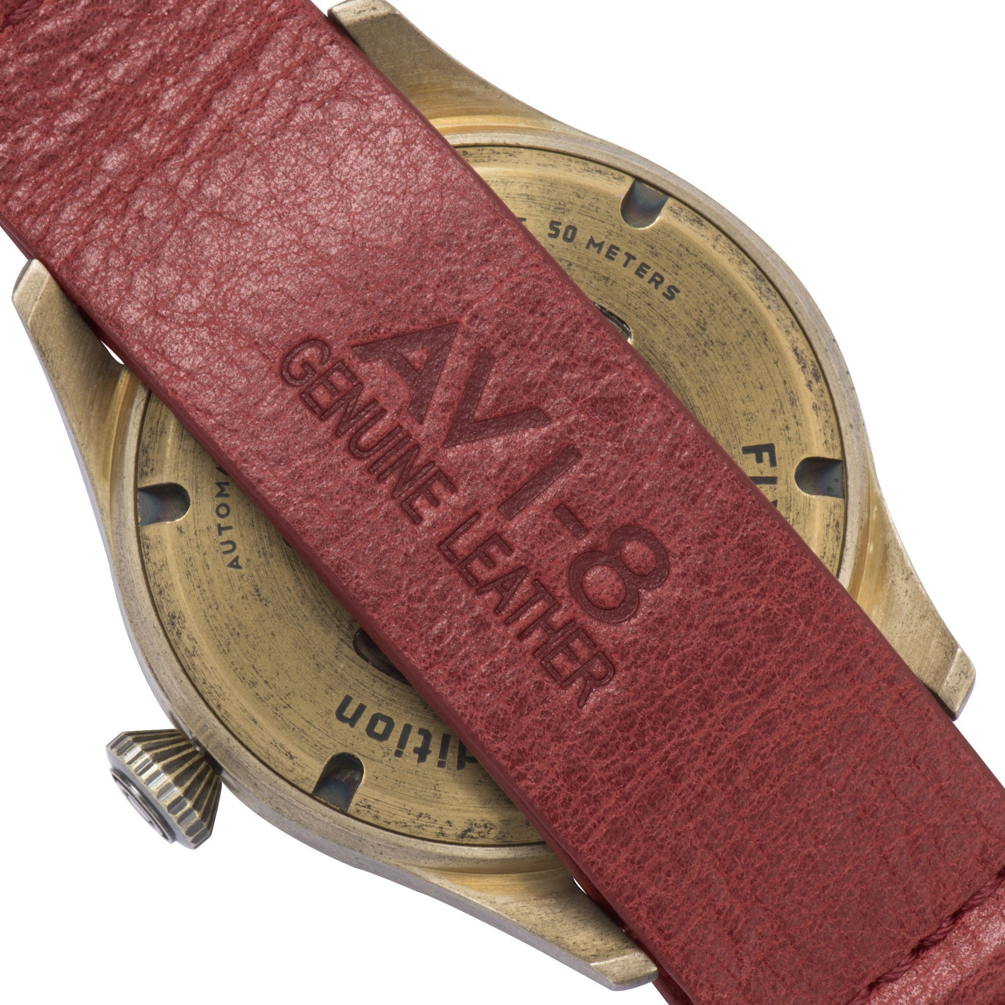 AVI-8 AVI-8 Flyboy Men's Bronze Edition Automatic Watch with Red Genuine Leather NATO Strap and Beige Nubuck Suede Leather Strap AV-4042-01