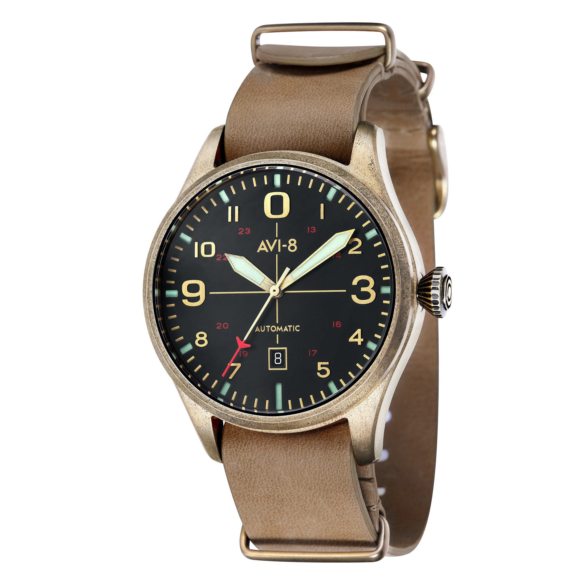 AVI-8 AVI-8 Flyboy Men's Bronze Edition Automatic Watch with Brown Genuine Leather NATO Strap and Green Nubuck Suede Leather Strap AV-4042-02