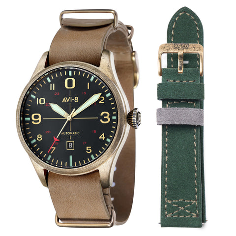 AVI-8 Men's AV-4042-02 Flyboy Gold Automatic Watch with Blue Genuine Leather NATO Strap