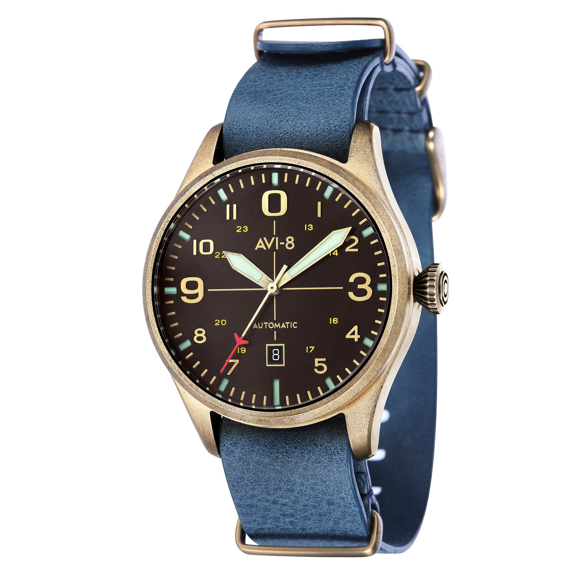 AVI-8 AVI-8 Flyboy Men's Bronze Edition Automatic Watch with Blue Genuine Leather NATO Strap and Grey Nubuck Suede Leather Strap AV-4042-03