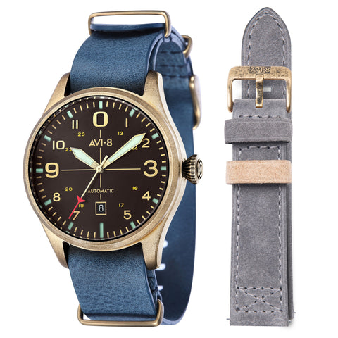 AVI-8 Men's AV-4042-03 Flyboy Gold Automatic Watch with Brown Genuine Leather NATO Strap
