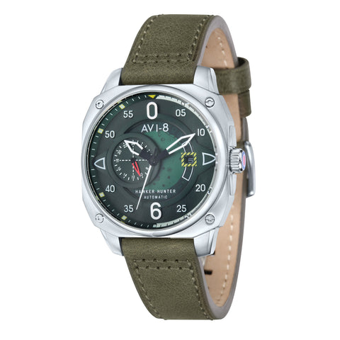 AVI-8 Men's AV-4043-02 Hawker Hunter Stainless Steel Automatic Chronograph Watch with Green Genuine Leather Strap