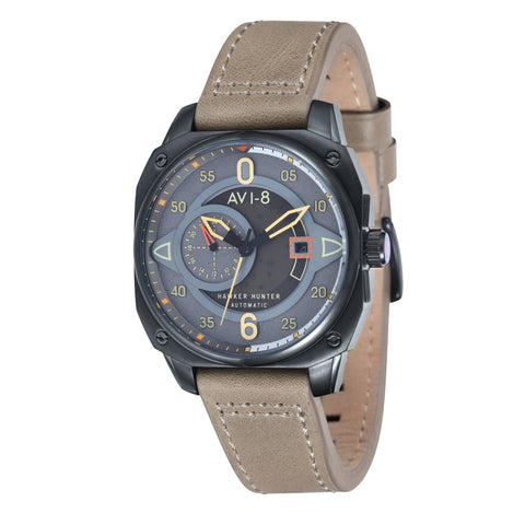 AVI-8 Men's AV-4043-03 Hawker Hunter Black Automatic Chronograph Watch with Stone Genuine Leather Strap