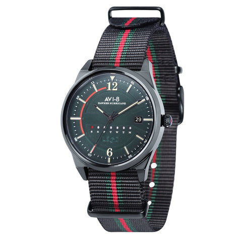 AVI-8 Men's AV-4044-03 Hawker Hurricane Black Quartz Watch with Nylon NATO Strap