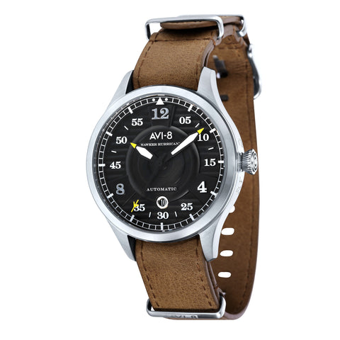 AVI-8 Men's AV-4046-01 Hawker Hurricane Stainless Steel Automatic Watch with Brown Genuine Leather Strap
