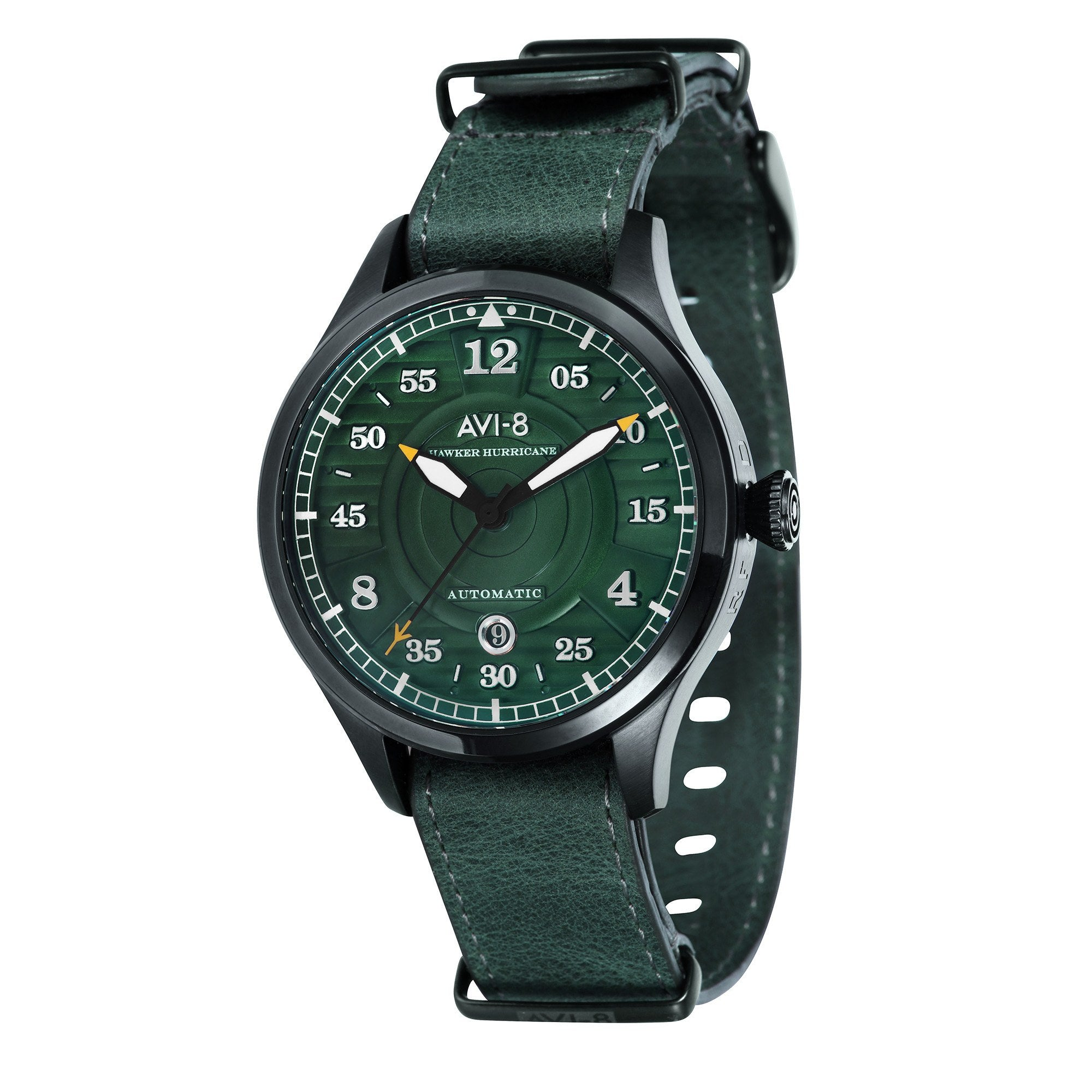 AVI-8 Men's AV-4046-04 Hawker Hurricane Black Automatic Watch with Green Genuine Leather Strap