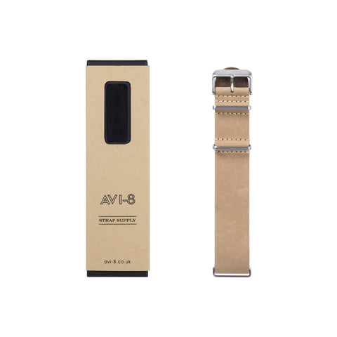 AVI-8 AV-NATO24-L02 Beige Genuine Leather NATO Strap