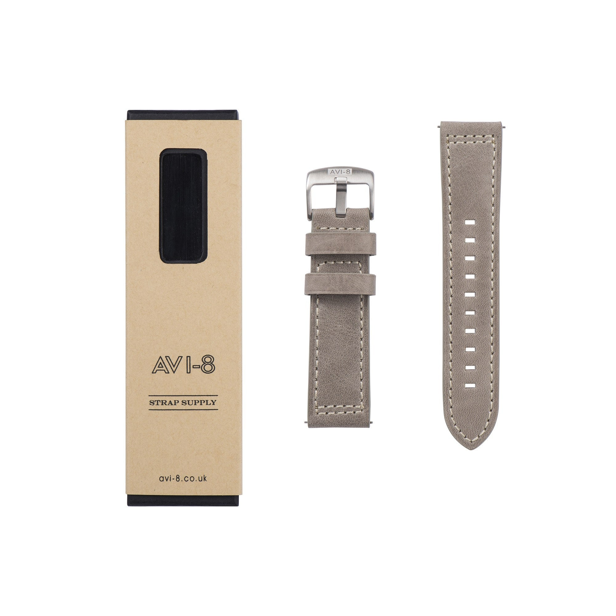 AVI-8 AV-STRAP24-L02 Two-piece Beige Genuine Leather Strap