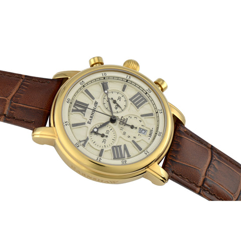 Thomas Earnshaw THOMAS EARNSHAW SWISS MADE Longcase 43 Quartz Chronograph Watch With Brown Genuine Leather Strap ES-0016-03