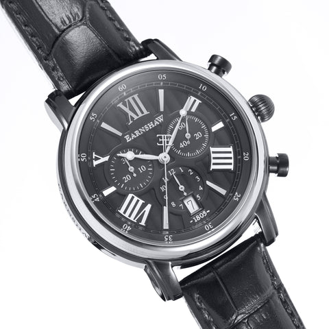 Thomas Earnshaw THOMAS EARNSHAW SWISS MADE Longcase 43 Quartz Chronograph Watch With Black Genuine Leather Strap ES-0016-07